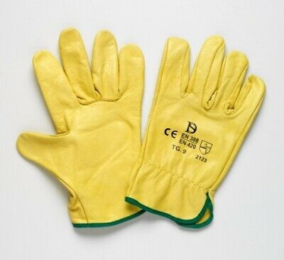New Steeldrill Leather Gloves Yellow Riggers Glove - Blue Band Size 8 (S) - Pack