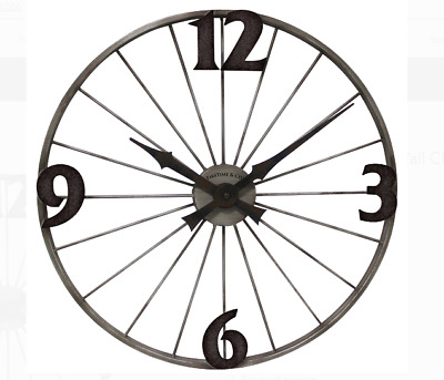 Bicycle Wheel Wall Clock Iron Case Vintage Style Quartz Movement Large Black New