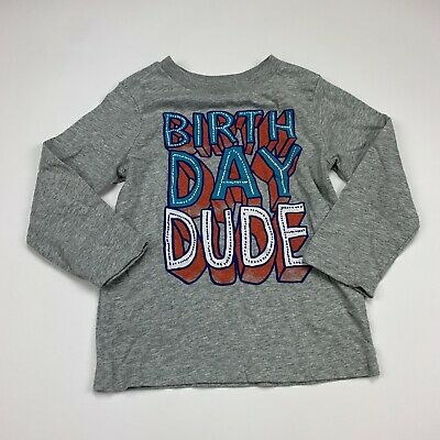 The Children's Place Long Sleeve Tee Toddler Boy Size 3T Gray Birthday Boy Shirt