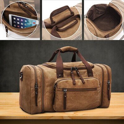 AU Vintage Men Women Canvas Luggage Duffle Bag Gym Handbag Travel Sport Tote New