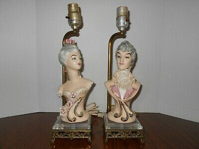 Pair Antique Porcelain Boudoir Lamps