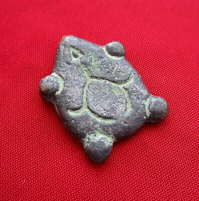 TURTLE - Ancient Celtic warrior decoration . silvered bronze . circa 500 bc.RARE