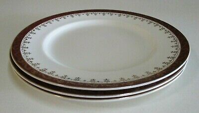 Vintage Alfred Meakin - Three Entree/Smaller Dinner Plates - Brown & Gold -1940s