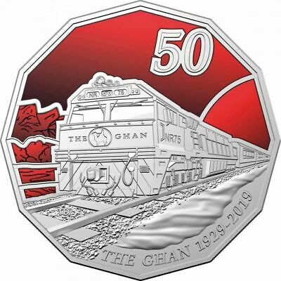 2019 50c COLOURED CARDED COIN 90th ANNIVERSARY OF THE GAHN, UNC