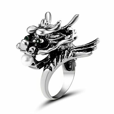 Vintage Stainless Steel Punk silver Dragon Head Knuckle Pearl Ring Jewelry Gift