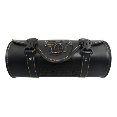 Motorcycle Cool Skull ghost Tool Bag Saddlebag PU Roll Storage Pouch Cafe Racer