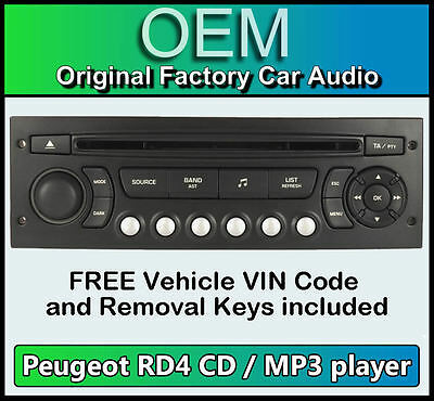 Peugeot 5008 car stereo MP3 CD player Peugeot RD4 radio + FREE Vin Code and keys