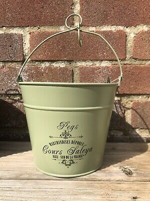 Vintage Metal PEGS Bucket, Peg Laundry Washing Line Basket with Hook Sage Green