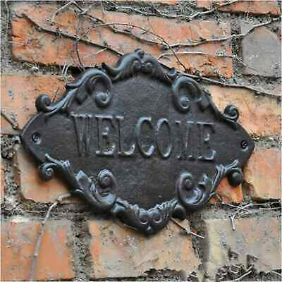Cast Iron WELCOME Sign Rustic French Cottage Garden Outdoor Home Wall Decor