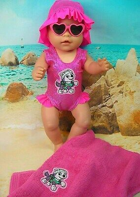 """Dolls clothes for 17"""" Baby Born Doll~PAW PATROL~EVEREST SWIMMERS~SUNNIES~TOWEL"""