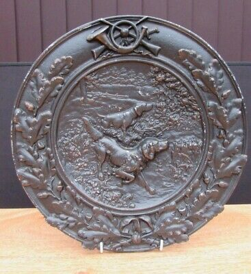 Rare Antique Pewter Plaque Of Hunting Gun Dogs Late 19Th / Early 20Th Century