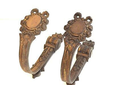 very rare late 1800s french Antique  bronze tie backs curtain holders hooks