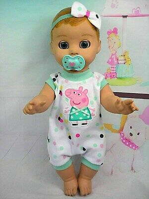 Dolls clothes for LUVABELLA DOLL~ PEPPA PIG COLOURFUL SPOTTY JUMPSUIT ~ HAIR BOW