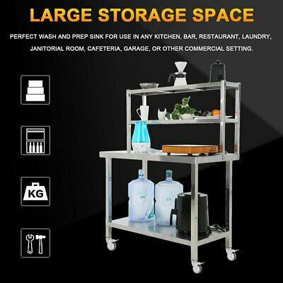 Commercial Stainless Steel Kitchen Food Prep Work Table Bench W/ 2 Shelf & Wheel