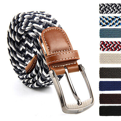 Fashion Mens Womens Waist Belt Leather Canvas Woven Elastic Stretch
