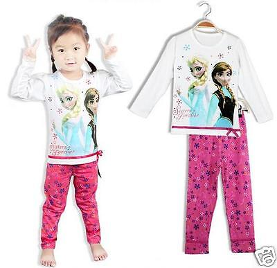 Frozen Pyjamas Girls Kids Set Elsa Anna White Pink  long sleeves Christmas Gift