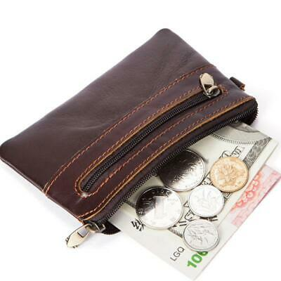 New Mens Soft Genuine Leather Wallet Retro Zipper Coin Purse Card Holder Pocket