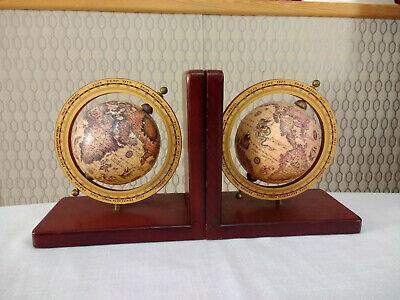 Vintage Rotating World Globe Bookends Book Ends Wood Wooden Base Bookends