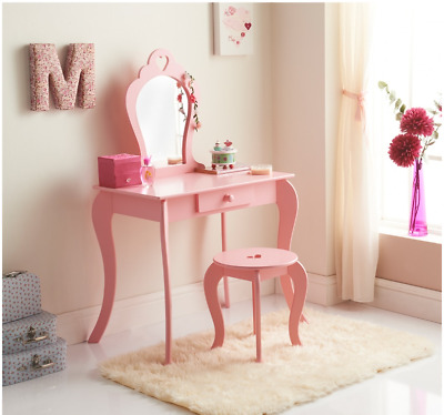 Amelia Childrens Pink Vanity Set with Stool & Mirror Bedroom Dressing Table