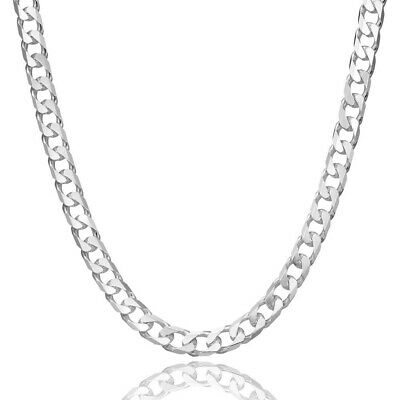 Bijoux collier chaine argent massif 925 sterling maille gourmette plate 5mm