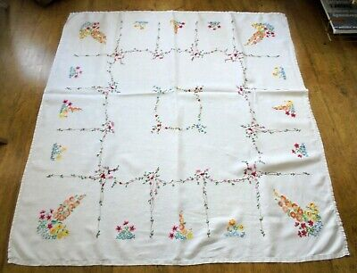 Hand embroidered large linen tablecloth Hollyhocks & cottage garden flowers