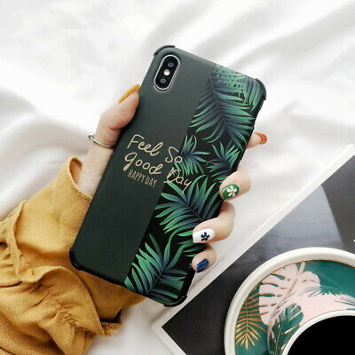 Matte IMD Leaf Pattern Rubber Soft Case Cover For iPhone XS Max X XR 8 7 6s Plus