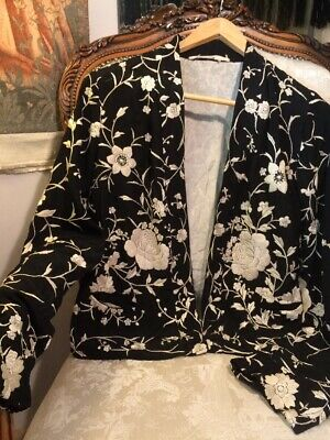 1930's Cantonese Silk Embroidered Jacket. 40bx23lgth. Stunning. Peonies