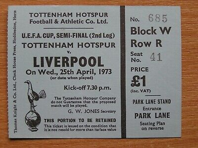 TOTTENHAM v LIVERPOOL UEFA Cup Semi-Final 25/04/1973 (Original Match Ticket)