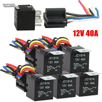 Waterproof Automotive Relay 12V 5Pin 40A Car Relay 12V 5Pin With Relay SocketVvV
