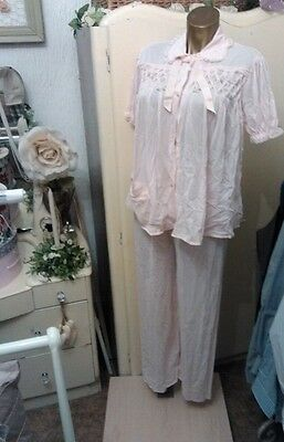 Vintage 1950's ladies nylon night slip trousers & top pink floral rare set 8-10