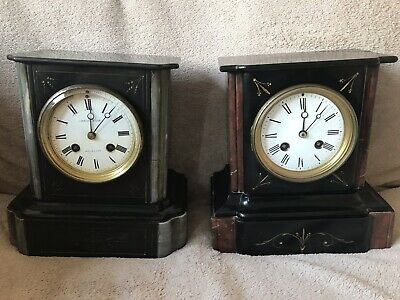 Antique 19th Century Slate And Malachite Inlaid Chiming Mantle Clocks X2