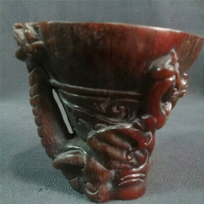 Collection Chinese Exquisite Ox horn Hand-carved beast Ox horn cup wine cup