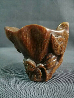 Collection Chinese Exquisite Ox horn Hand-carved pattern Ox horn cup wine cup