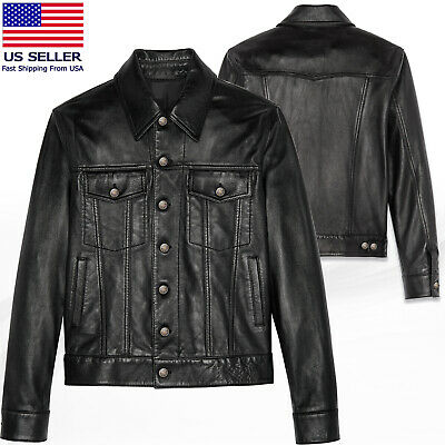 Men's Real Soft Lamb Napa Leather Trucker Iconic Lightweight Leather Jacket
