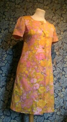 Vintage 1960s 70s floral mini shift Dress original mod scooter Gogo soul bright