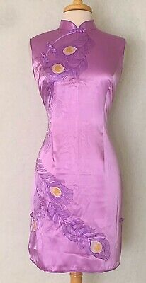 Shoulder length Sleeve Classic Chinese Cheongsam Qipao Summer Dress Purple with