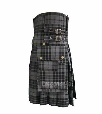 New Men's Brand New Utility Fashion Kilt ,Grey Watch Tartans 14 oz Acrylic