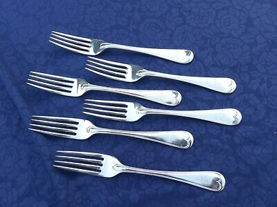 6 Harrison Bros & Howson Silver Plate Dinner Forks. Hat Engraving On Handles