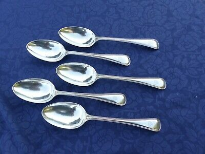 5 Harrison Bros & Howson Silver Plate Dessert Spoons. Hat Engraving On Handles