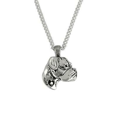 """Beautiful 18"""" Silver/Antique Silver Plated Pet Boxer Dog Pendant Necklace"""