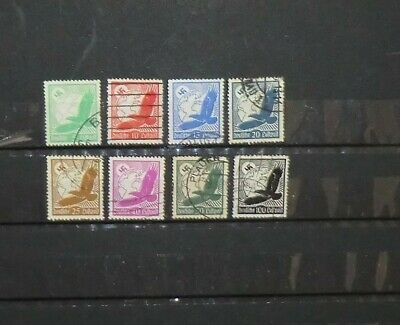 German Third Reich Stamps - Group of 8 Eagle Globe and Swastika Stamps Used