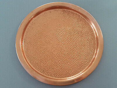 Vintage Coppercraft Guild Hammered Copper Round Serving Tray Platter 12""