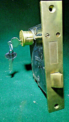 "RUSSWIN # P 9098 ENTRY LOCK w/CYLINDER & KEYS DOUBLE THUMB LATCH 7"" FACE (12493)"