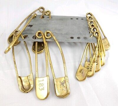 Vintage Brass Numbered Key Tag Set Blanket Safety Pin Old Steampunk Hardware