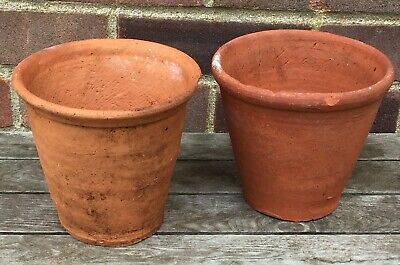 2 Old Vintage Hand Thrown Terracotta Clay Plant Pots - 16 x 15cm