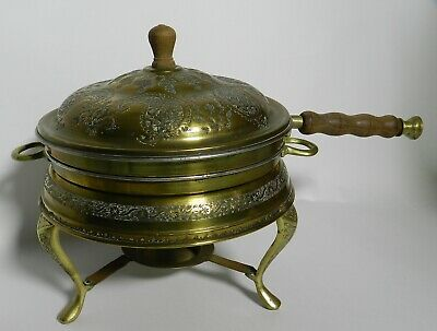 RARE Antique Ornate Brass Asian Chafing Dish VT3185