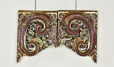 Pair Antique Chinese Red Gilded Wooden Carved Panel w Dragon Flower Bird, 19th c