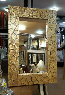 Large Unique Wall Mirror Gold Glass Shell Mosaic African Moroccan 117x77cm