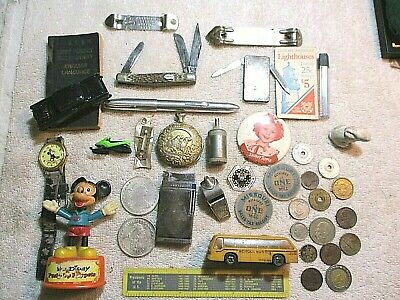 Vintage Junk Drawer lot MICKEY WATCH KNIFE COINS LIGHTER SHIRLEY TEMPLE