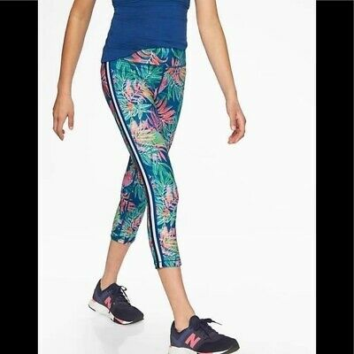 Athleta Girl Tropical Capri Pants Medium 8 10 Colorful Leggings Athletic Wear